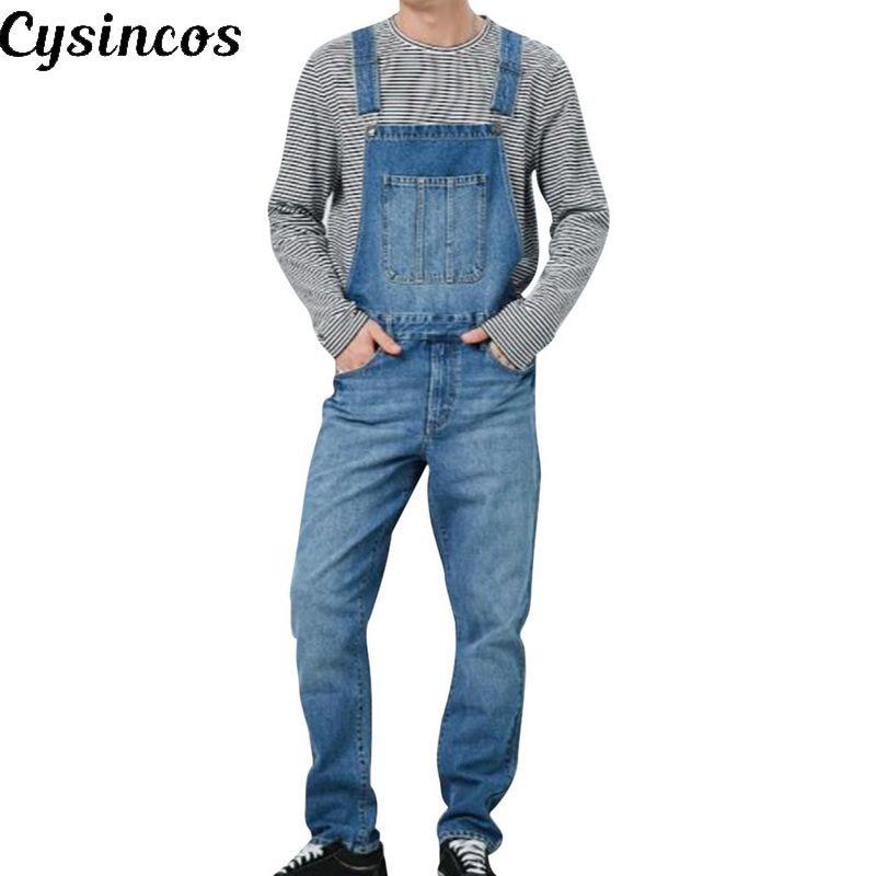 CYSINCOS Fashion 2019 Men Denim Carpenter Overalls Casual Pants Loose Pants Bib Pants Men's Fashion Hip Hop Jumpsuit Bib Pants