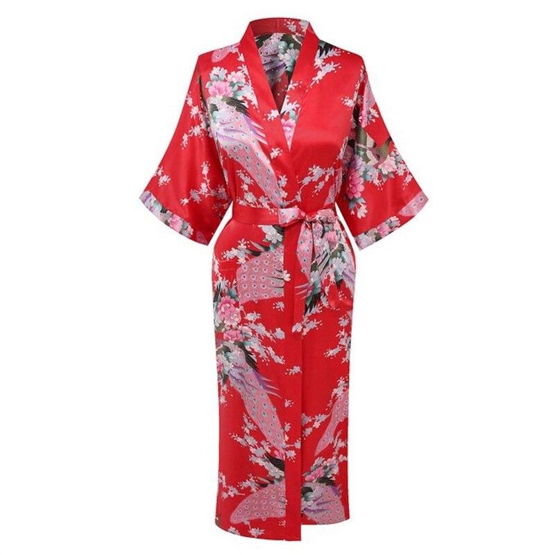 Red New Arrival Women Silk Satin Kimono Yukata Gown Bridesmaid Wedding Robe Nightgown Sleepwear Flower S M L XL XXL XXXL ZS03