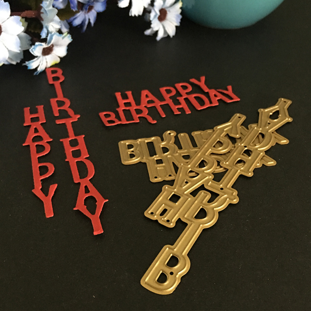 Metal Steel Embossing Cutting Dies Stencils Letter Happy Birthday Scrapbooking Dies For DIY Card Album Photo Decoration