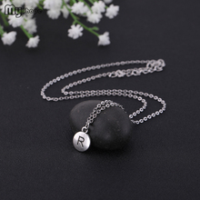 My Shape 2019 Small Round Meaning M and R Letters Pendants Twist Chain Neck Jewelry Letter Necklace