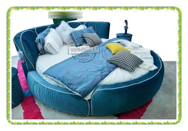 Azul alta densidad de franela rey cama redonda parejas jóvenes noble ...