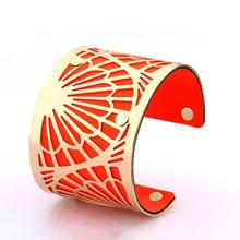 Infinity bracelet cuff bracelets bangles Indian Jewelry Hollow out Big Alloy PU Leather glorious sun flower love women (xs0004)