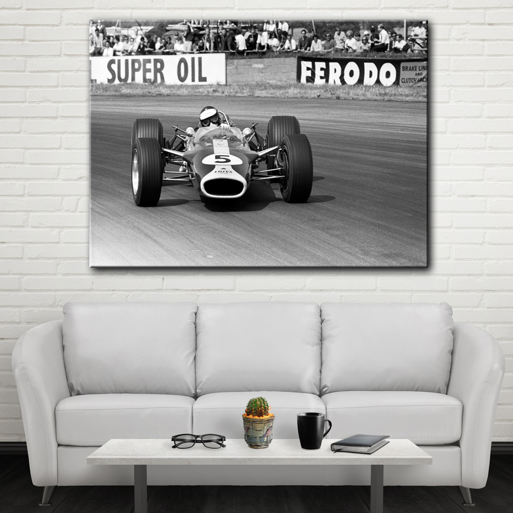 Hot Sale Black and white racing wall picture artwork canvas painting ...