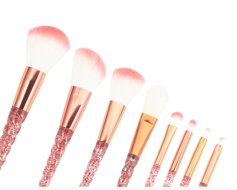 8pcs Red Glitter Diamond Unicorn Brush Crystal Brushes Foundation Blending Power Eyeshadow Brush Cosmetic Beauty Make Up Tool 10