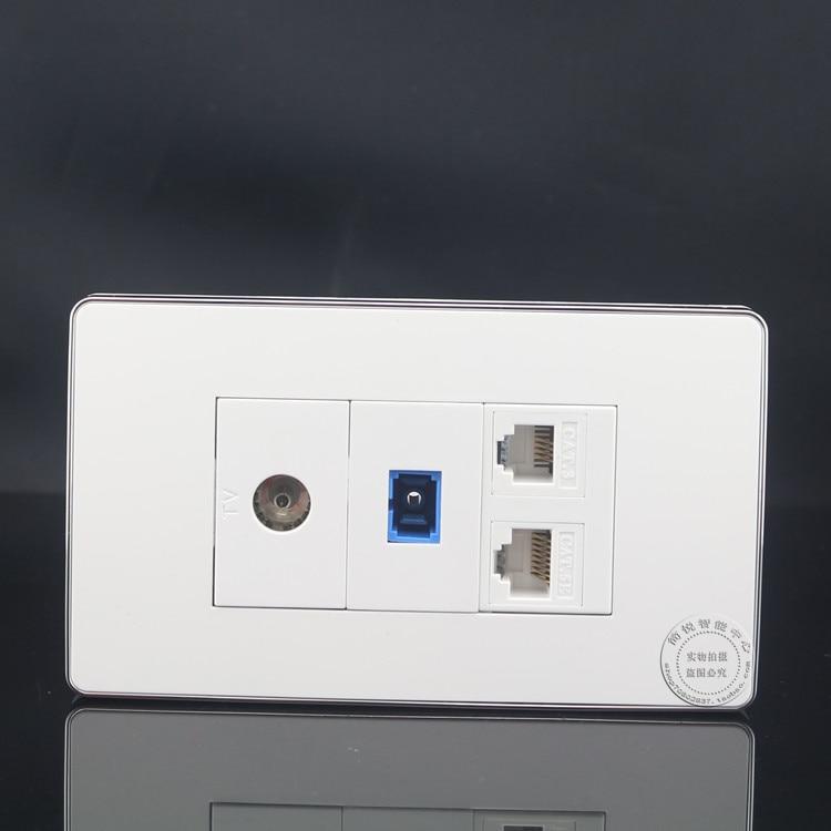 120MM Wall Plate 4 Ports CAT5E RJ45 Network LAN  + SC Optical Fiber Outlet +TV Socket +RJ11 Cat3 Telephone Panel Faceplate wall socket 4 ports single port network lan cat6 rj45