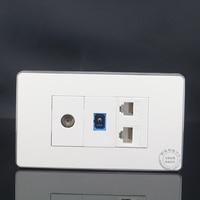 120MM Wall Plate 4 Ports CAT5E RJ45 Network LAN SC Optical Fiber Outlet TV Socket RJ11