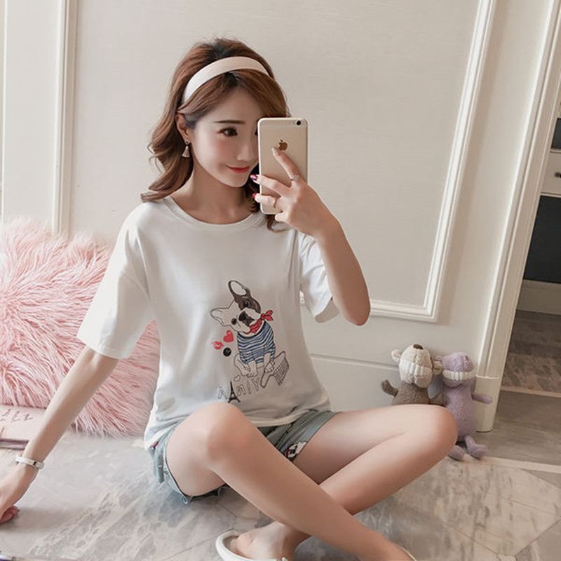 Lady   Pajamas     Set   Women Shorts Top-Shirt Dog Print Sleepwear Polyester Tracksuit Female Stitch 2019 Fashion Pyjamas