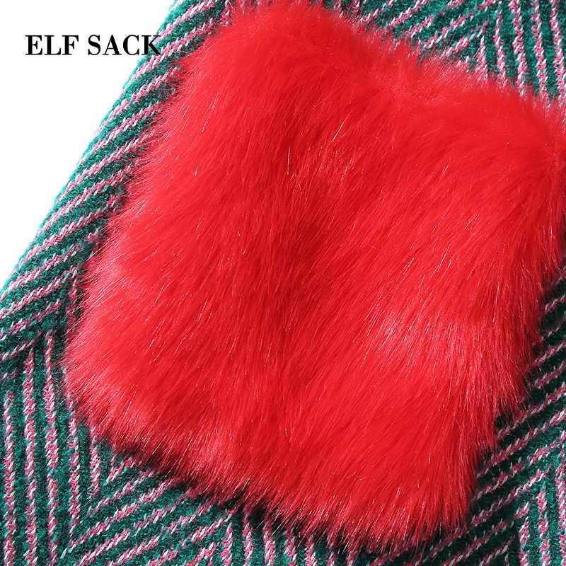 ELFSACK Wool Coats Women Winter Red Fur Pockets Straight Womens Coats Oversize Turn Down Collar Thick Striped Wool Coats