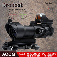 Acog 4X32 Scope Red Green Reticle With QD Mount & Mini Red Dot Sight Sniper Riflescope Hunting Shooting Rifle Scope AO5321
