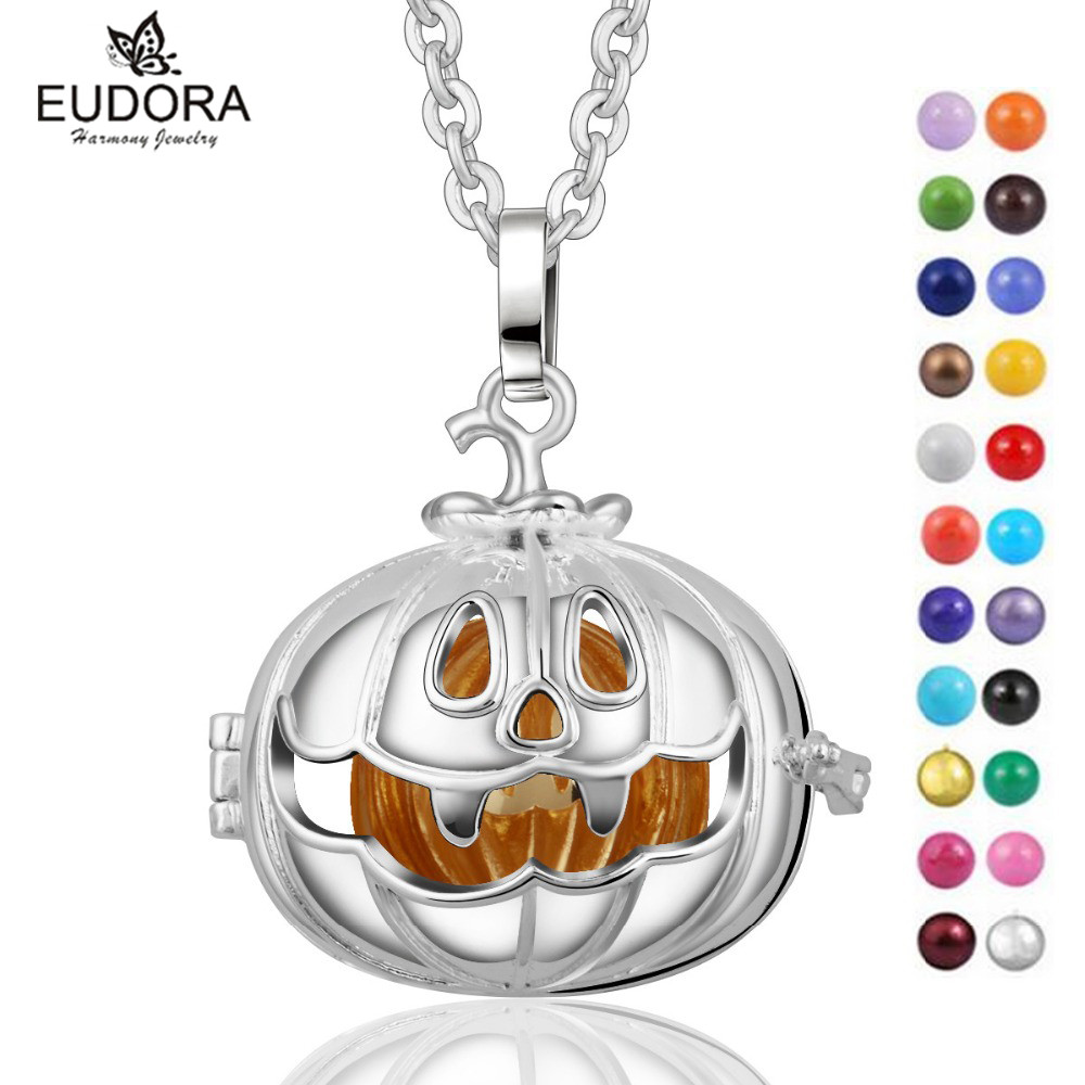 Angel Caller 18mm Halloween Pumpkin Lantern Locket Cage Pendant Necklace Chime Bola Sounding Bell Mexican Bola Cage For Baby
