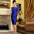 Vestidos Madre de la Novia Azul Real Más El Tamaño de la Madre de la Novia de Encaje Vestidos de Longitud de La Rodilla Corto Vestido de Madrina 2017 Tafetán