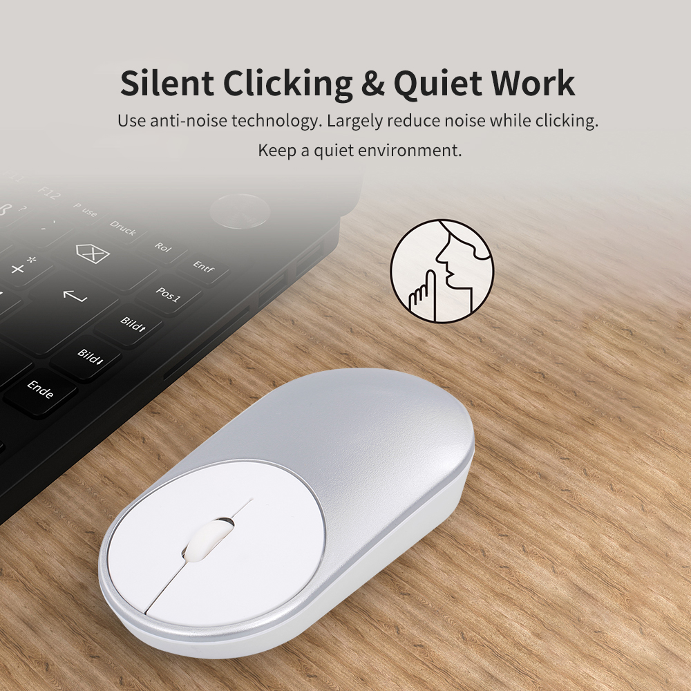 Gamed Mouse BT Wireless  Dual Mode Slim Silent Corldless Mouse With BT4.0 And 2.4G Compatible For Laptop/PC/Windows/Mac (Silver)