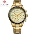 Julius homens relógio de ouro romana de quartzo relógios à prova d' água de aço completa negócios masculino esporte relógio de pulso relogio masculino montre homme