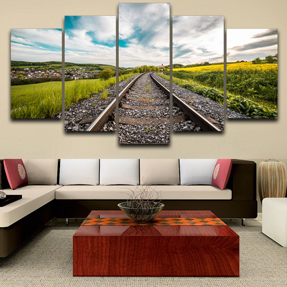 Wall Art Living Room Decor Canvas Printed Pictures 5 Panel Railway Orbital Field Scenery Modern HD Frame Home Painting Poster
