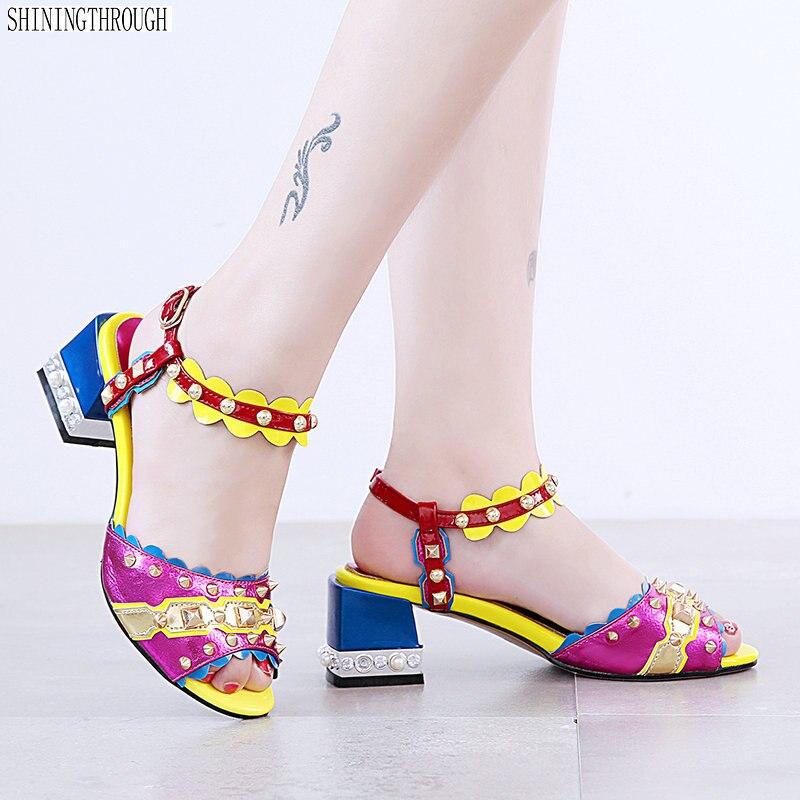 rojo 2018 Azul Mujeres Tacón Verano Sandalias Las Elegante De Nuevo Mujer Alto Remaches Zapatos OZrORq