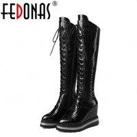 FEDONAS New Fashion Women Autumn Winter Knee High Boots Genuine Leather Platforms Wedges Heels Long Warm