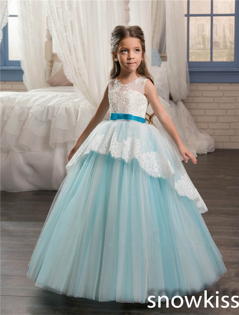 Sky blue and white lace appliques backless flower girl dresses for wedding open back toddler pageant prom dresses