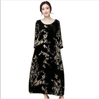 Plus Size 4XL Vintage Autumn Winter Dress Women Retro Print Women Gold Velvet Dress Maxi Long Dress Fashion TShirt Dresses AC444