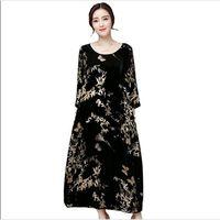Plus Size 4XL Vintage Autumn Winter Dress Women Retro Print Women Gold Velvet Dress Maxi Long Dress Fashion TShirt Dresses AC444