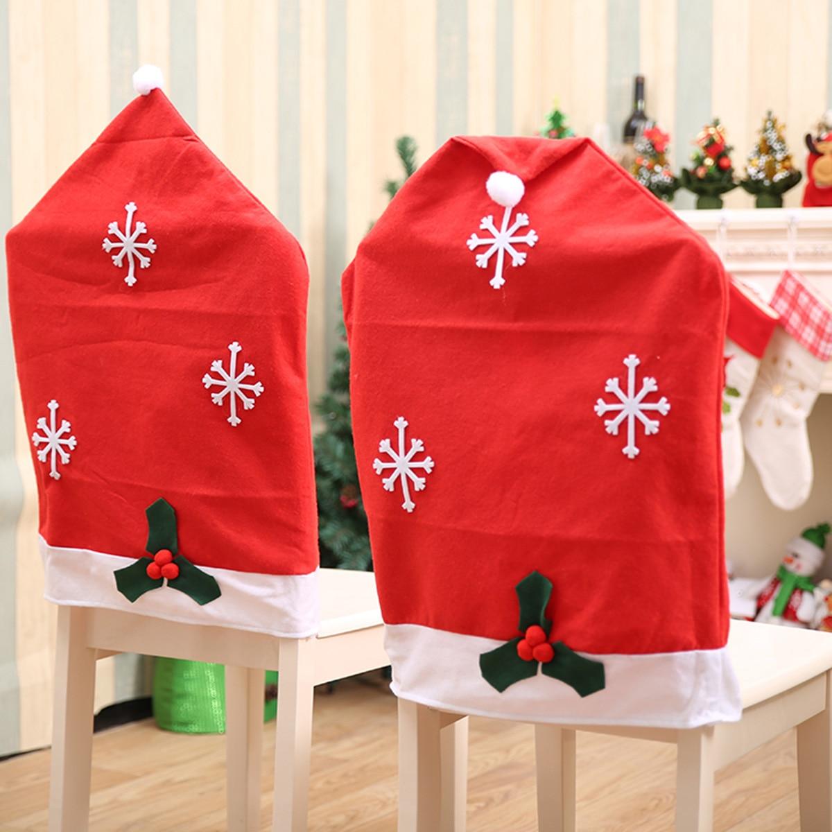 1 2 4 6pcs Christmas Chair Cover Snowflake Santa Claus Cap
