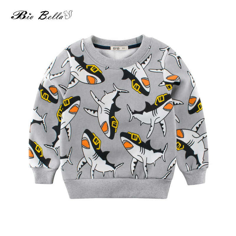 712ca6d62d58b Kids Boys Sweaters Cute Animal Print Fleece Inside Spring Autumn Coat Shark  Jacquard Weave 2018 Casual