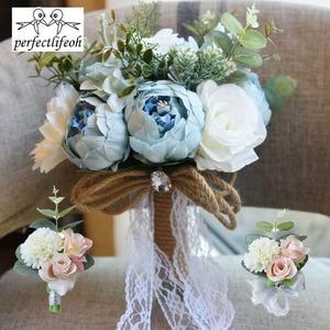 Image 3 - Nhân tạo Bó Hoa Cưới Cho Cô Dâu Bên Ngoài Ren Hoa Cưới Trâm Bó Hoa Bó Hoa De Mariage