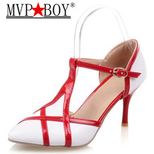 MVP BOY plus size 34-44  NEW fashion stiletto high heels T strap women pumps mixed color pointed toe sweet party wedding shoes