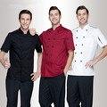 Serviço de alta qualidade a Curto-de mangas compridas Chef Do Hotel Restaurante roupas de trabalho Ferramental desgaste do trabalho uniforme Chef Casacos 4 cor