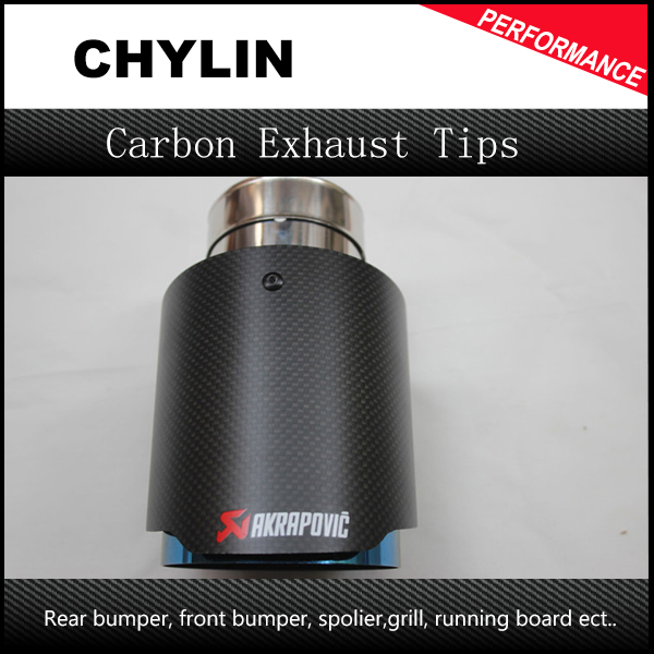 1Pcs Carbon Fiber Coated Stainless Steel Universal Car Exhaust Pipe Tip Tailtip 89mm 63mm Akrapovic Car
