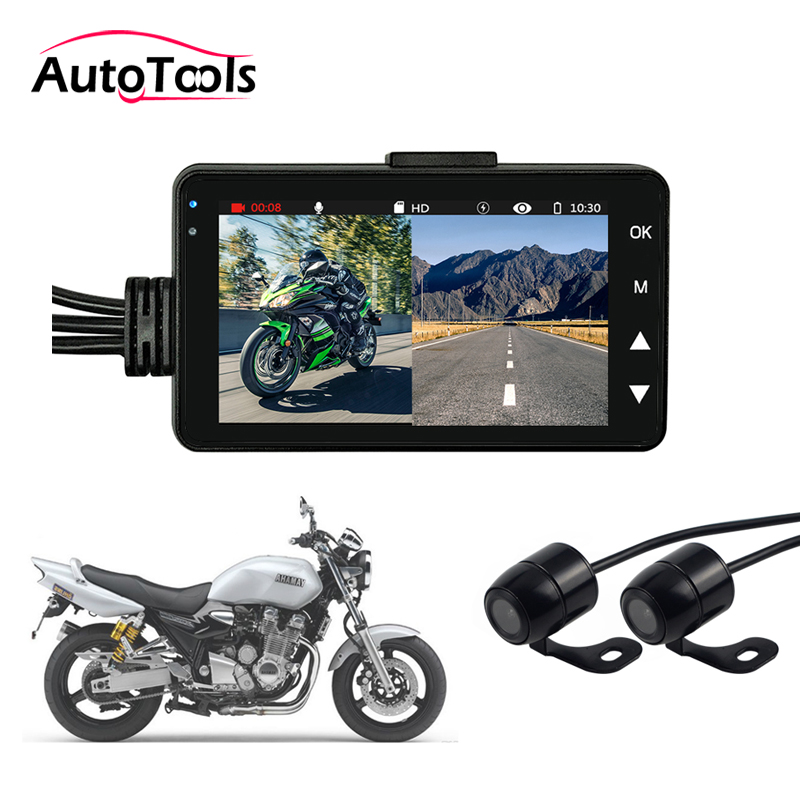 Motorcycle DVR Camera Motor Dash Cam with Special Dual-track Front Rear Recorder Motorbike Cam KY-MT18 image