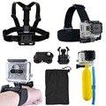 Para gopro acessórios cabeça helmet strap belt peito bobber handheld monopé + adaptador de montagem para gopro hero3/3/4 sj4000 xiaomi yi