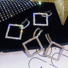 Bride Women Shining Rhinestone High Quality Golden Silver Drop Earring Square Crystal Wedding Geometric Party Dangle 1Pair Girls(China)