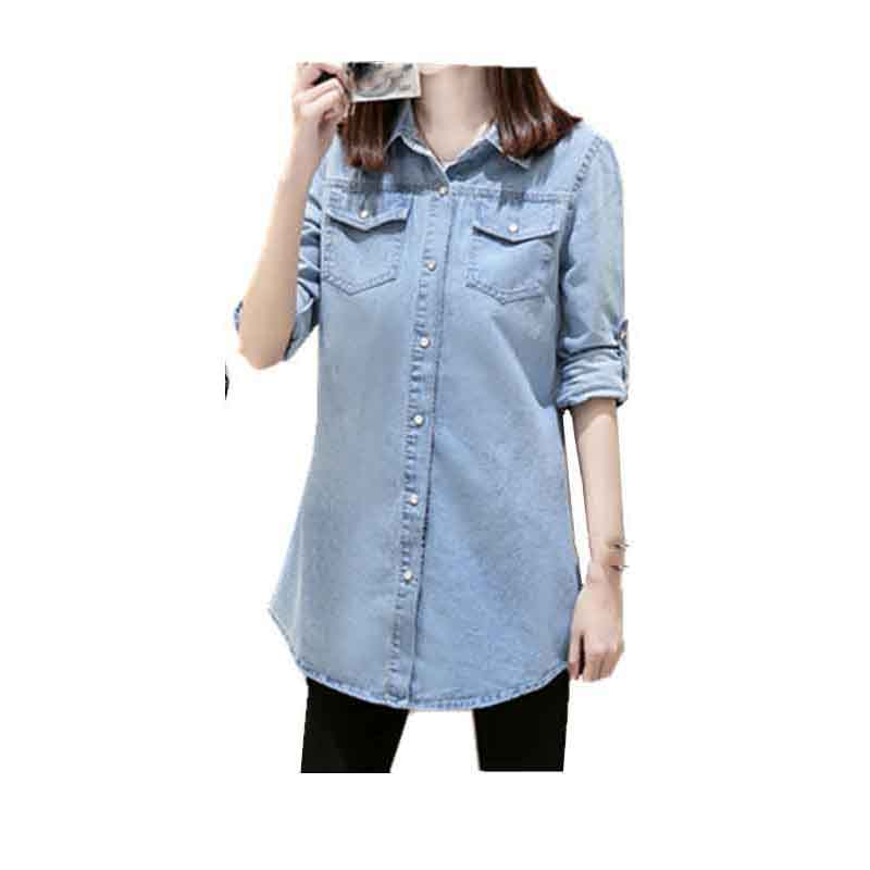 2019 Women Vintage Jean Blouse Long Sleeve Denim Shirt Plus Size Casual Tops(China)