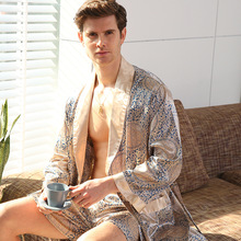 Cross-Border Men One-Piece Silk Robe Long Sleeve Pajamas XL Bathrobes