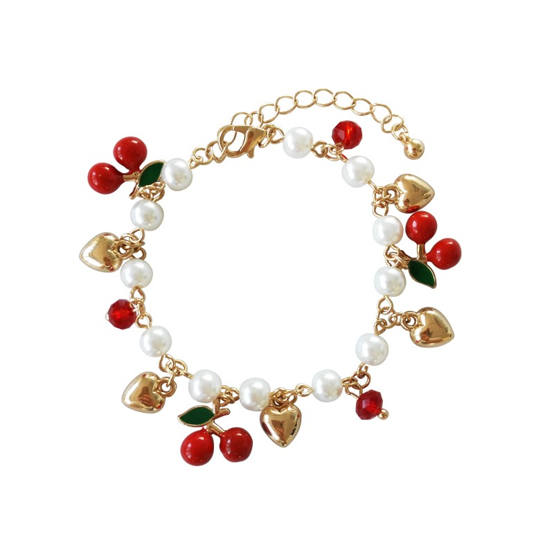 Cherry love pearl fashion temperament girl heart bracelet jewelry female students joker Fashion ladies bangle bracelet