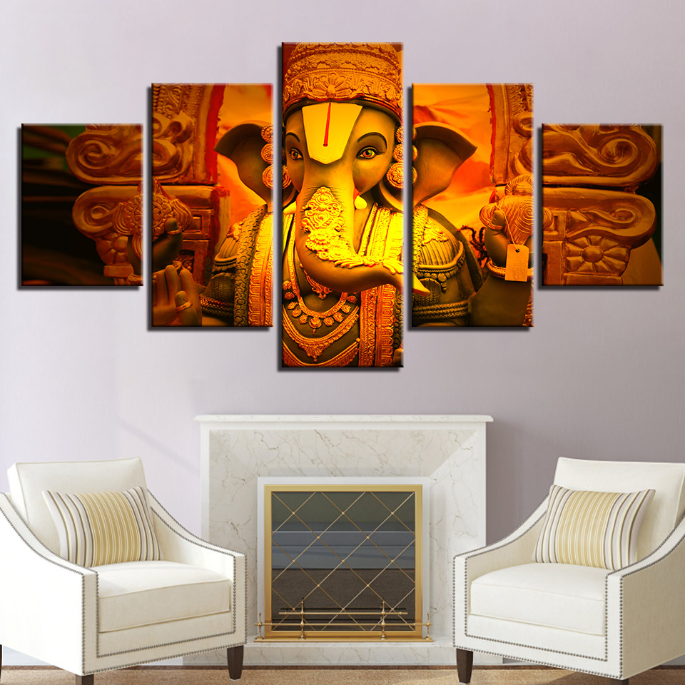 Canvas Painting Decoration Modular Elephant Printing Picture Wall Art Home 5 Panel Lord Ganesha For Living Room Modern Type