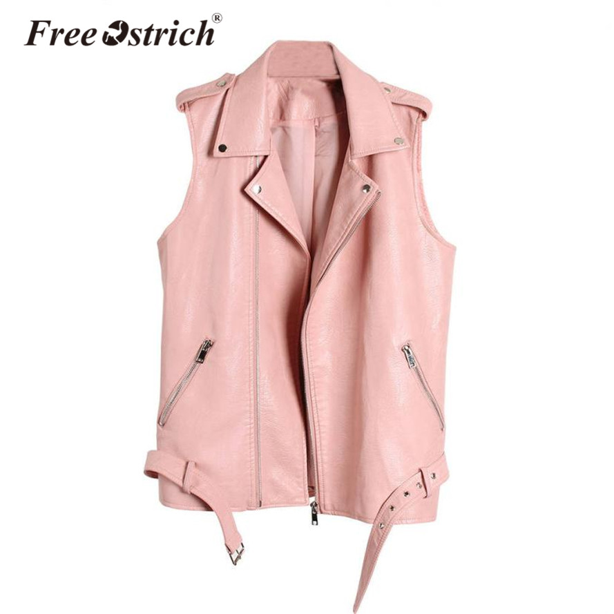 Free Ostrich 2018 Leather Vest Women Sleeveless Leather jacket Turn-Down Collar Pockets Waistcoat Top Motorcycle Style Oct1930
