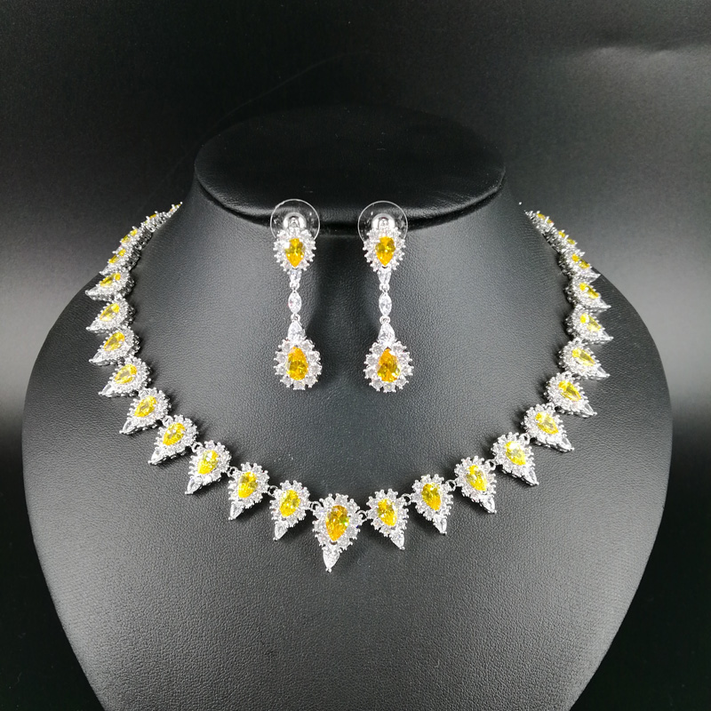 все цены на NEW FASHION retro yellow water drop zircon golden necklace earring wedding bride banquet dress formal jewelry set free shipping