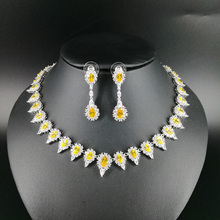 NEW FASHION retro yellow water drop zircon golden necklace earring wedding bride banquet dress formal jewelry set free shipping