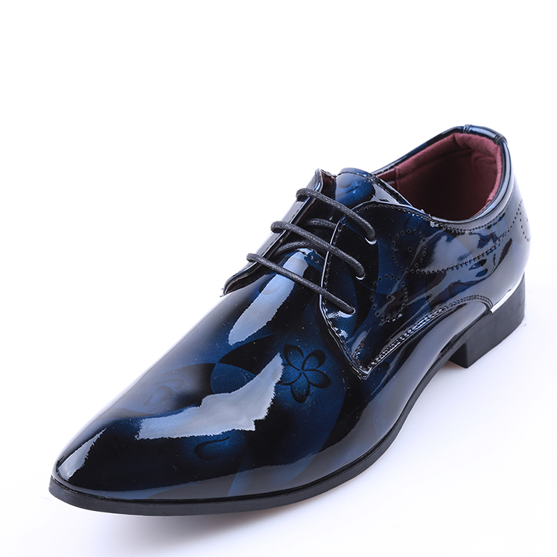 Men's Shoes Shoes Bright Leather Men Dress Shoes Brand Fashion Groom Wedding Shoes Flowers Print Pointed Toe Lace Up Men Business Shoes 38-48
