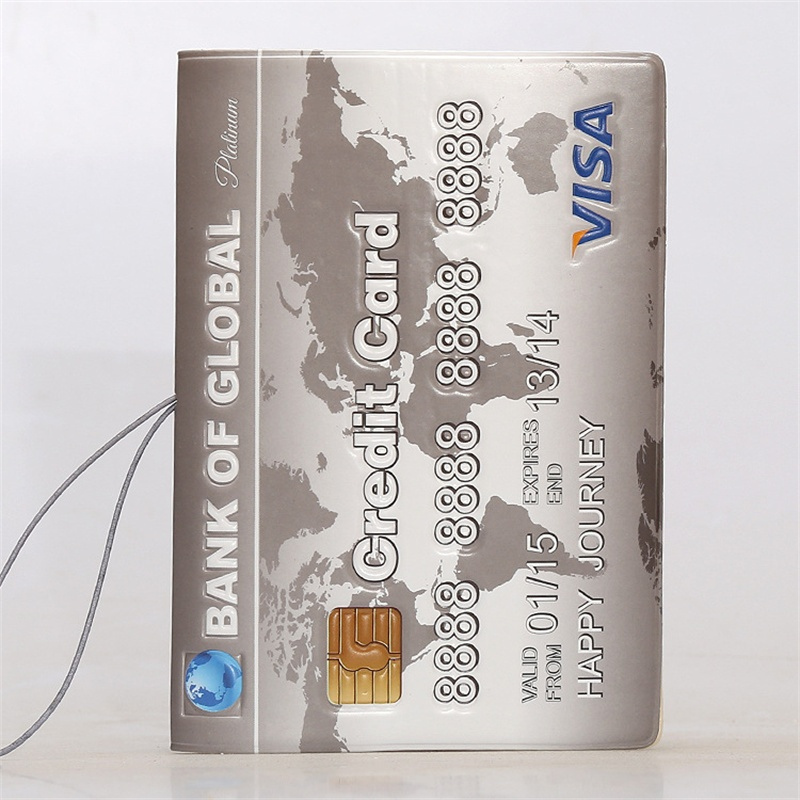 BANK OF GLOBAL!VISA Credit Card Passport Holder, 3D Design PVC Leather Travel ID Card Holder  Passport Cover 14*9.6CM