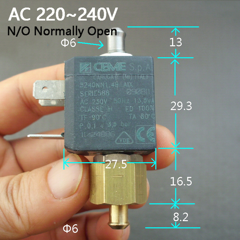 6mm AC220V AC230V AC240V Coffee machine solenoid valve coil Electric Solenoid Valve Normally Open N/O Water Inlet Flow Switch hydraulic solenoid valve coil connector ac220v inner hole diameter 19mm high 58mm