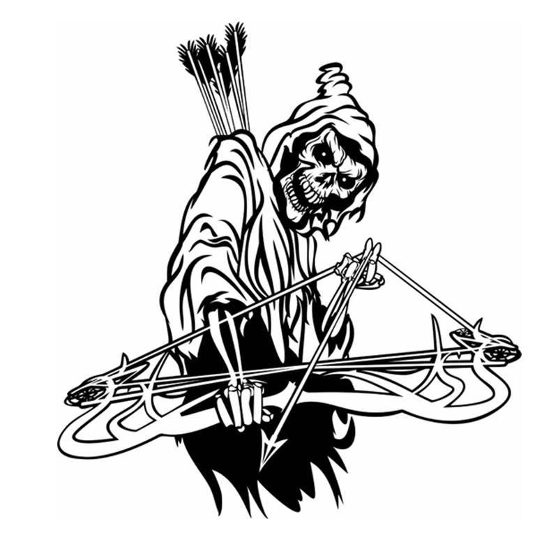 Pegatina Hunt Bow Skull Sticker Hunter Club Decal Gun Shop