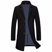 Shanghai Story Winter Pea Coat Men Fashion Design Mens Slim Fit Wool Blend Single Breasted Trench Coat Casual Coffee Overcoat