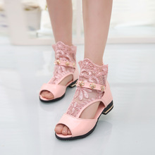 The Summer Children's Shoes Sandals 2016 The New High Lace Girls Sandals Princess Edition Fish Mouth Shoes