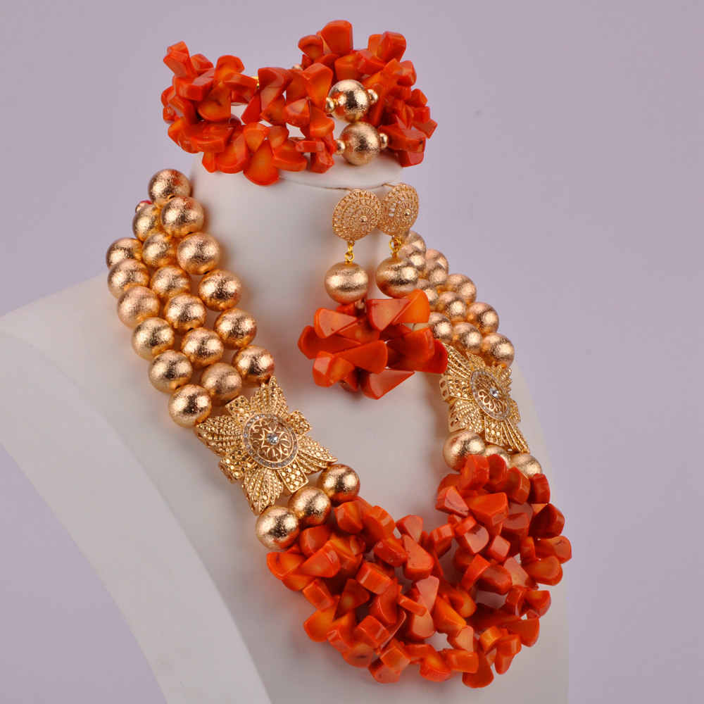 Orange African Coral Jewelry Set Nigerian Wedding Coral Beads Necklace Sets Gold Bridal Jewelry Sets RCBS32