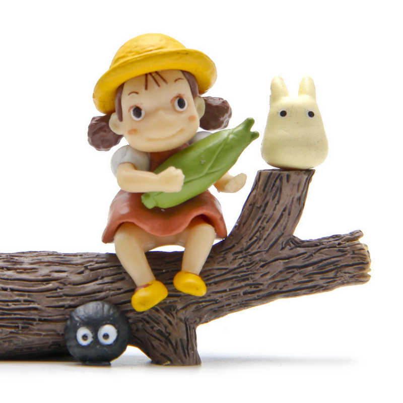 Girl Hold Corn Totoro Set Miniature Fairy Garden Home Houses Decoration Mini Craft Micro Landscaping Decor DIY Accessories