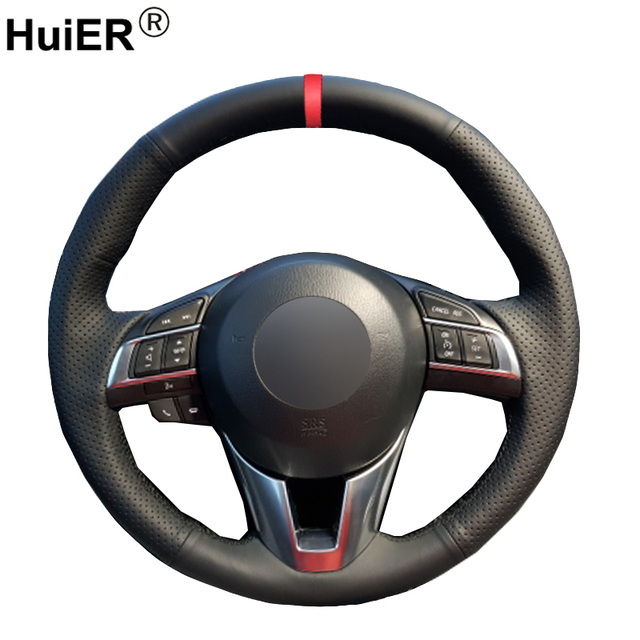 HuiER Hand Sew Car Steering Wheel Cover Breathable Red Marker For Mazda CX 5 CX5 Atenza 2014 New Mazda 3 CX 3 2016 Scion iA 2016
