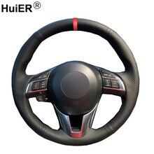 Huier縫製車のステアリングホイールカバー通気性赤マーカーマツダCX 5 CX5 アテンザ 2014 新マツダ 3 CX 3 2016 サイオンia 2016