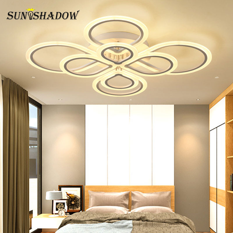 Rings Modern Led Ceiling Light For Living Room Bedroom Luminaires Black&White Acrylic Surface Mounted Chandelier Ceiling Lamps
